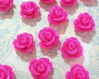 10mm rose cabochons, hot pink/ magenta cute round floral cabs, pick your amount
