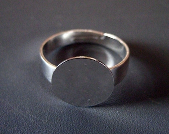 Silver plated 12mm ring bases, wide band adjustable ring findings, pick your amount, A62