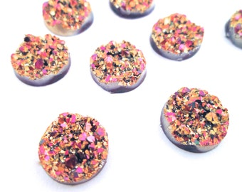 10 metalic pink and gold 12mm round multicolor resin druzy cabochons, H574