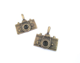 Brass camera pendant charms, pick your amount, D243