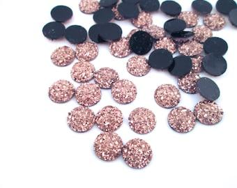 10 Rose Gold 10mm Resin Druzy Cabochons, H572
