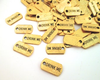 """Gold Plated """"Drink Me"""" Charms, Pick Your Amount, G217"""