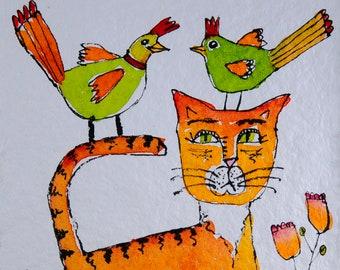 Cat Art - Cat Painting - Cat Watercolor - Cat Illustration - Cat Lovers - Orange Cat - Cat and Bird - Folk Art Cat - Folk Art Bird