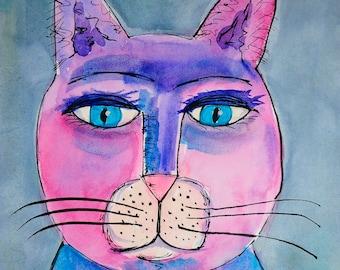 Folk Art Cat Painting - Cat Art - Watercolor Cat - Pink Cat - Purple Cat - Cat Painting - Cat Illustration - Colorful Cat - Cat Lovers
