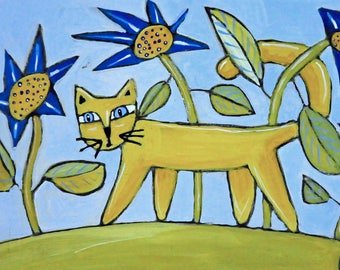Folk Art Cat Painting - Cat Art - Acrylic Painting - Cat Illustration - Original Art - Cat Lovers - Folk Art Cat