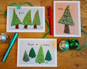 Christmas Cards - Joy - Noel - Peace - Greeting Cards - Textile Art