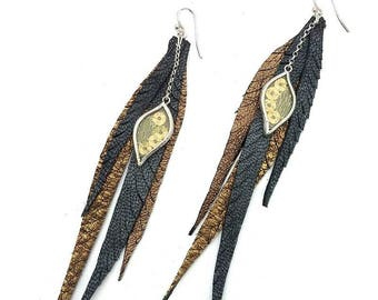 Long leather fleather earrings with gold sequin silk charm and sterling silver