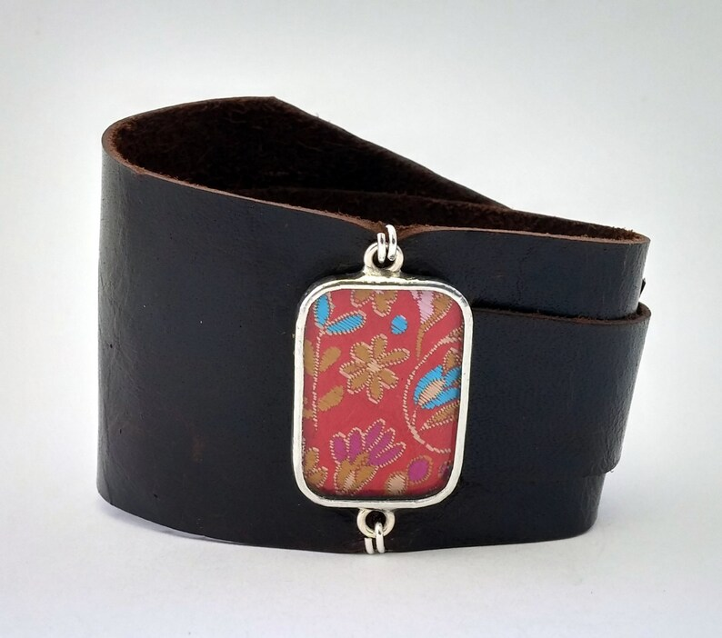 Leather Wrap Cuff with Red Floral Silk Shi Piece
