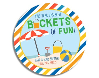 End of School Year-Gift for Student-Custom Student Gift Tag-This Year Has Been Buckets of Fun-Summer Gift for Students-Gift Tag from Teacher