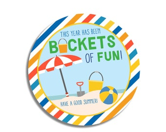 End of School Year-Gift for Students-Student Gift Tag-This Year Has Been Buckets of Fun-Summer Gift for Students-Gift Tag from Teacher