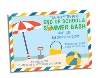 End of School Year Party Invitation - Summer Bash Party Invite - Beach Party Invitation - Summer Birthday Party Invite - School's Out Invite