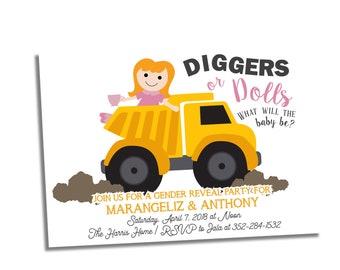 Gender Reveal Invitation - Boy or Girl Invite - Dump Trucks or Dolls Gender Reveal Party - Baby Reveal Invitation - Diggers or Dolls