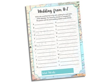 Travel Bridal Shower Game - Wedding from A to Z Shower Game - Bridal Shower Game - Wedding Shower Game Instant Download - Printable Game