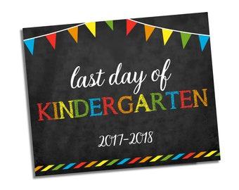 Last Day of Kindergarten Sign - Chalkboard Sign - Any Grade - Photo Prop School Sign - Last Day of School Chalkboard Sign - Instant Download