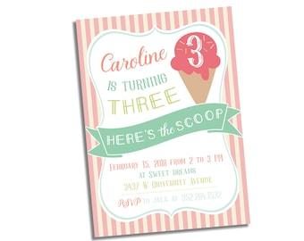 Ice Cream & Sprinkles Party Invitation - Ice Cream Invitation - Ice Cream Birthday Invitation - Ice Cream Girl Birthday Invitation Printable