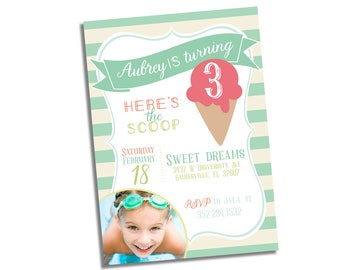 Ice Cream Birthday Invitation - Ice Cream Invitation - Ice Cream Photo Invitation - Ice Cream Birthday Invitation Printable - Girl Birthday