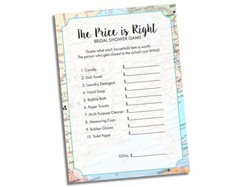 Travel Bridal Shower Game - Guess the Price Bridal Shower Game - Bridal Shower Game - Wedding Shower Game Instant Download - Printable Game