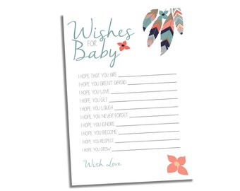Tribal Baby Shower Games - Native American Baby Shower Game - Dream Catcher Shower - Wishes for Baby Game - Baby Shower Instant Download