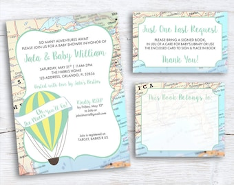 Travel Baby Shower Invitation-Hot Air Balloon Invitation-Oh, the Places You'll Go-Baby Shower-Map-Book Card-Baby's Library