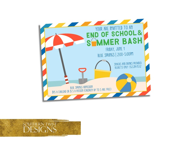 End Of School Year Party Invitation Summer Bash Party Invite Beach Party Invitation Summer Birthday Party Invite School S Out Invite