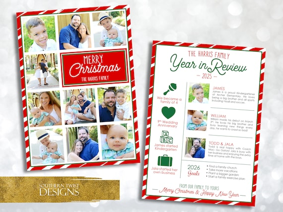 Year In Review Christmas Card Christmas Card Year In Review Etsy