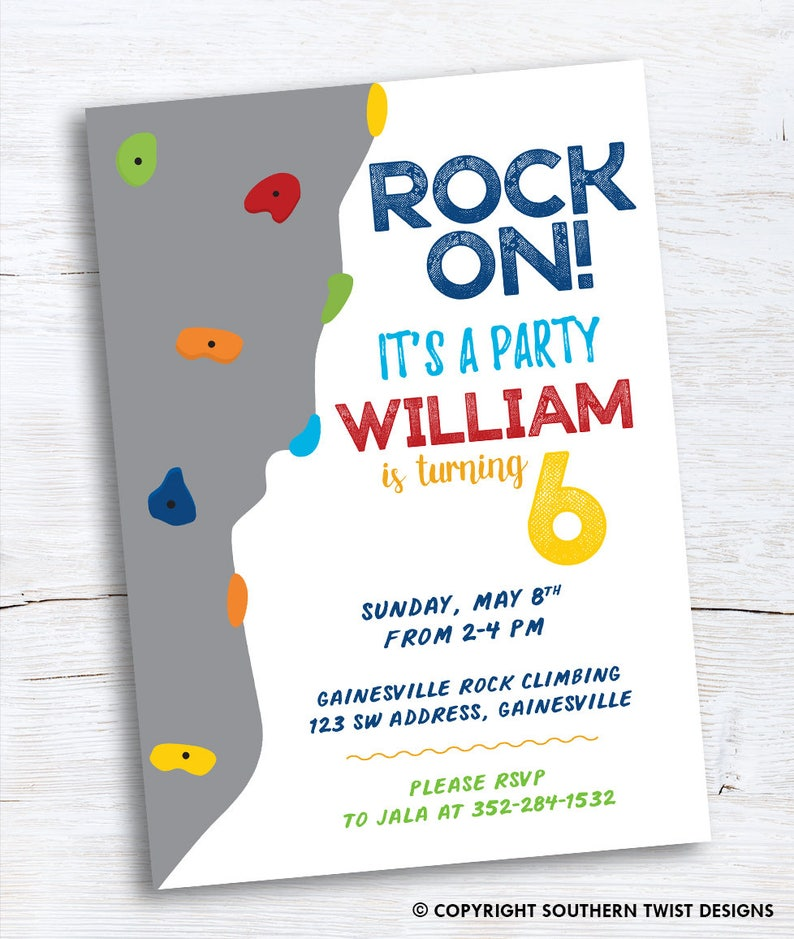 Extreme Sports Rock Climbing Birthday Party–Rock Climbing Invitation–Photo  Birthday Invite–Rock Wall Invitation–Printable or Printed