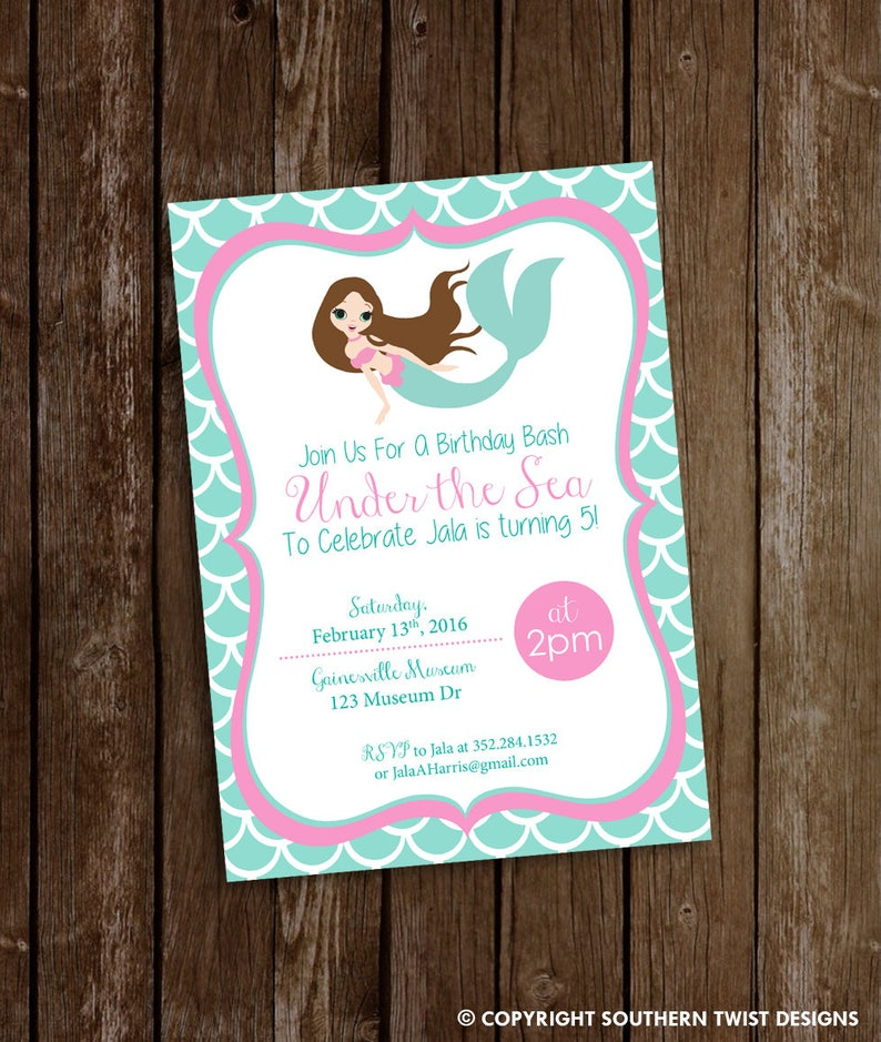 Printable Mermaid Birthday Party Invitation Custom