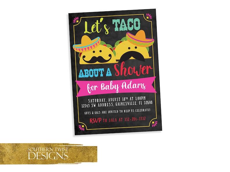Coed Baby Shower Invitation Taco Baby Shower Taco Baby Etsy