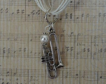 Trombone antique silver charm necklace with pearl accent