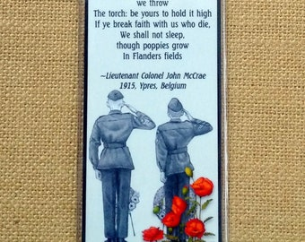 BOOKMARK, In Flanders Fields, Poem, Cadets Saluting, Poppies, Pencil Art, Veterans Day, Memorial, Remembrance Day, Choose One or More
