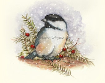 Printable Christmas Card, Watercolor Illustration, Chickadee Bird Among Pine Branches and Red Berries, Snowflakes Falling, Wildlife Art