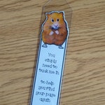 BOOKMARK, Hamster, From Original Art, Kid Party Favor Idea, Plastic Sleeve, Hamster Cut Out, Cute Poem, Reading, Library, Book Club, Animals