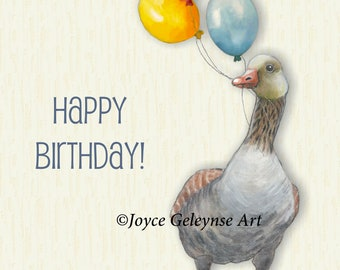 Printable GOOSE Birthday Card, 5 x 7 Card, Goose Holding Balloons, Colorful Balloons, Illustration, Cute Bird, You Print, Instant Download