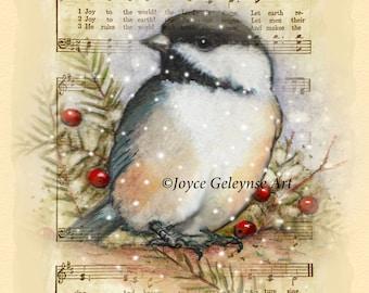 Printable Christmas Card or Poster, JOY to the World, Sheet Music, Chickadee and Pine Twigs Original Art, You Print, Digital Download