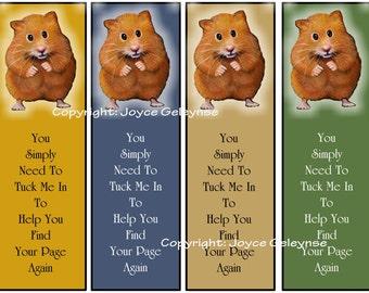 Instant Printable Bookmarks, Cute Hamster, Kids Party Favors: Digital Download