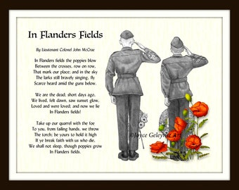 Printable Flanders Fields, Poem by John McCrae, Cadets Salute, Digital, Pencil Art, Red, Poppies, World War One, Remembrance, Veterans Day