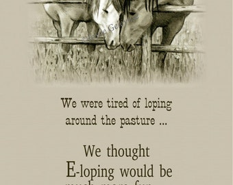 Printable Elopement Announcement, Horses, Humorous, Funny, Pencil Drawing, Instant Download WHOA Team Equine Art