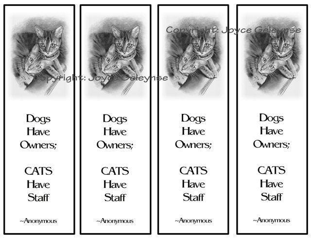 printable bookmarks bengal cats in pencil quote about cats original pencil art instant download
