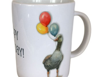 GOOSE Birthday Mug, Painting of Goose with Balloons, Watercolor Art, Large Cup, Happy Birthday, Dishwasher Safe Coffee Mug, 15-Ounce,