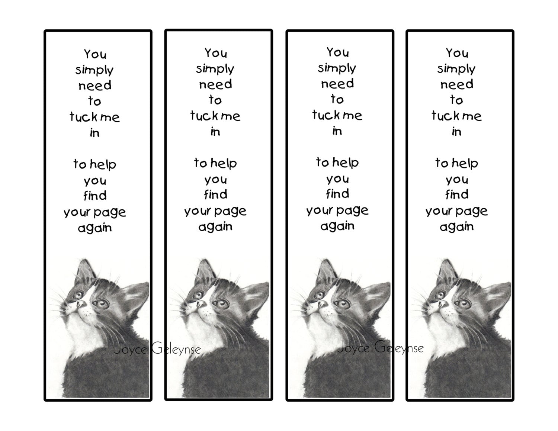 printable bookmark cute big eyed kitten little verse kids | etsy