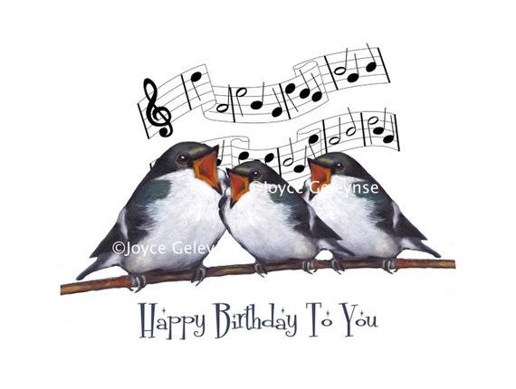 Afdrukbare Verjaardag Groet Drie Vogels Zingen Originele Etsy