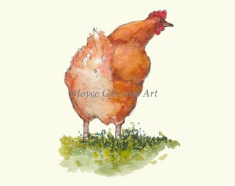 Printable Card, Congratulations on Promotion, Watercolor Art of Chicken, You've Moved Up in the Pecking Order, Job Advancement, You Print