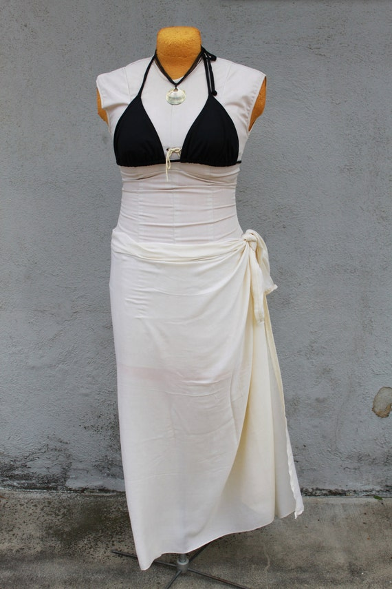 Ivory Solid Color Half Sarong