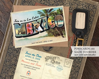 Save the Date - Mexico Vintage Large Letter Postcard (Los Cabos) - Design Fee