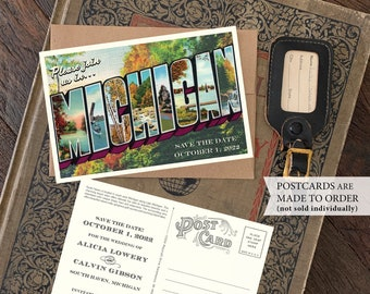 Save the Date - South Haven, Michigan - Vintage Large Letter Postcard - Design Fee