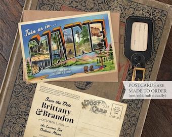 Save the Date - Dedham, Maine - Vintage Large Letter Postcard - Design Fee