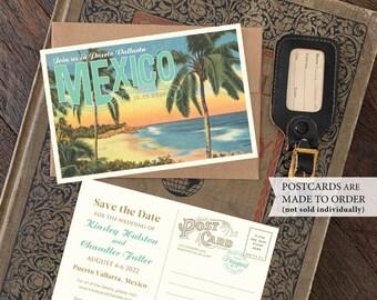 Save the Date - Puerto Vallarta, Mexico - Vintage Travel Postcard - Design Fee