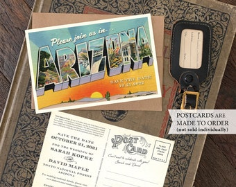 Save the Date - Tonto National Forest, Arizona - Vintage Large Letter Postcard - Design Fee