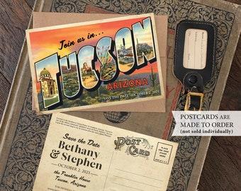 Save the Date - Tucson, Arizona (Desert Sunset) - Vintage Large Letter Postcard - Design Fee