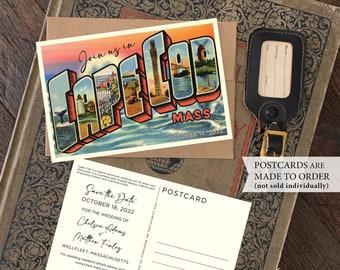 Save the Date - Cape Cod, Massachussettes -  Vintage Large Letter Postcard - Design Fee